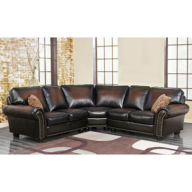 Melrose Leather 3-Piece Sectional