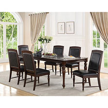 Lombardi Merlot Dining Table and Chairs, 7-Piece Set