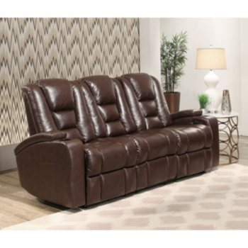 Mastro Leather Power-Reclining Home Theater Seating Sofa