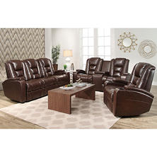 Mastro Leather Power-Reclining Theater Seating, 3-Piece Set
