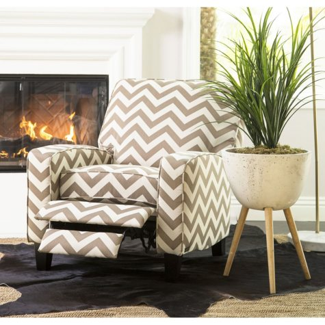 Morgan Gold Chevron Push Back Recliner