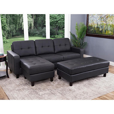 Claire Leather Reversible Sectional and Ottoman (Assorted Colors) : sectional pictures - Sectionals, Sofas & Couches