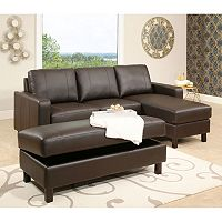 Hampton Leather Reversible Sectional and Storage Ottoman Deals