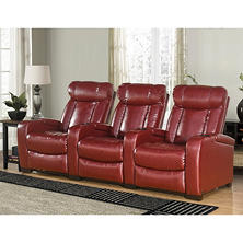 Larson Leather Reclining Home Theater Seating, 3-Piece Set (Assorted Colors)
