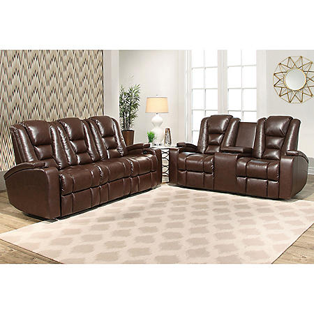 Mastro Power Leather Theater Sofa and Loveseat - Sam\'s Club