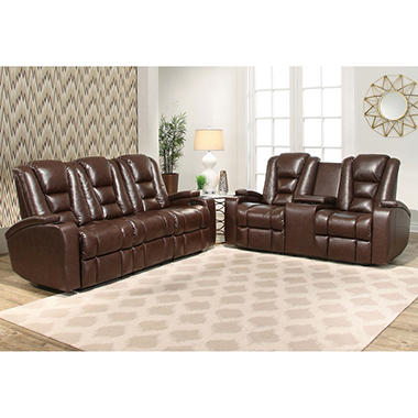 Mastro Power Leather Theater Sofa and Loveseat