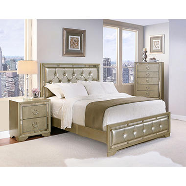 Crystal Gray Leather Bedroom Furniture Set (Assorted Sizes ...