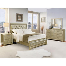 Crystal Gray Leather Bedroom Furniture Set (Assorted Sizes)