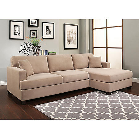 Travis Fabric Right-Facing Sectional, Beige