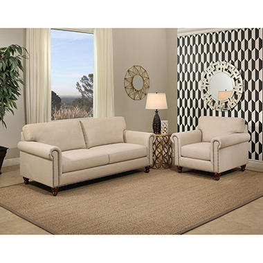Victoria Ivory Fabric Sofa and Armchair Set