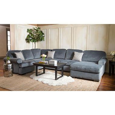 Jessica Gray Fabric 4-Piece Sectional Sofa