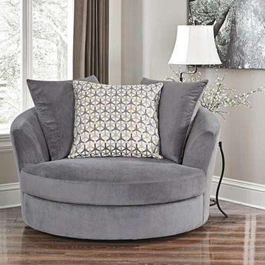 Jessica Gray Fabric Swivel Chair