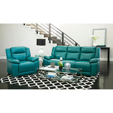 Jaylen Top Grain Pushback Reclining Sofa And Chair, Turquoise