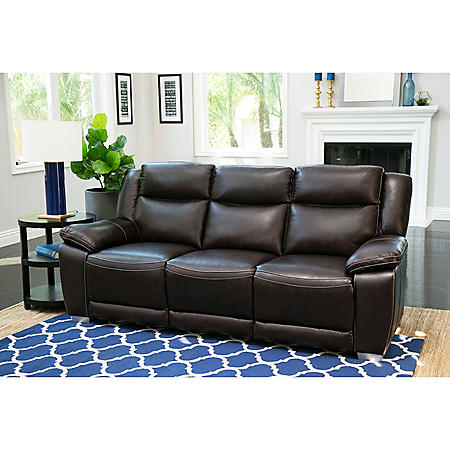 Jaylen Top Grain Leather Pushback Reclining Sofa (Assorted Colors)