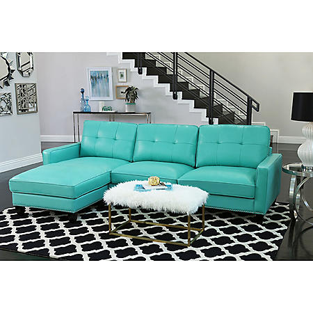 Sebastian Top-Grain Leather Reversible Sectional, Turquoise