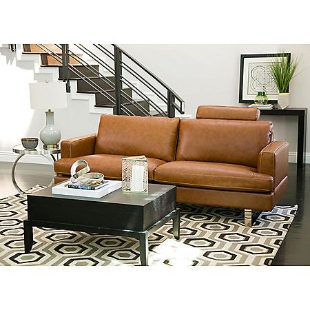 Kadence Top-Grain Leather Sofa, Camel