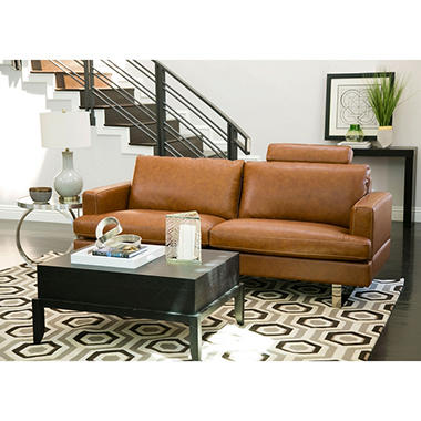 Kadence Top-Grain Leather Sofa, Camel