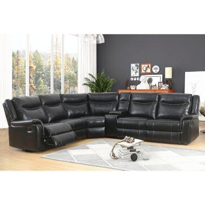 Bon Stanford 6 Piece Sectional Sofa, Black