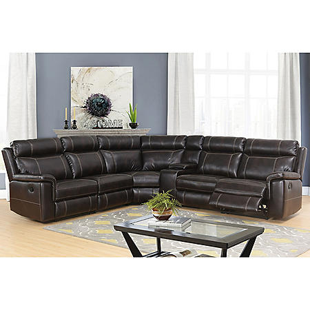 Samuel 6-Piece Sectional Sofa, Dark Brown - Sam\'s Club