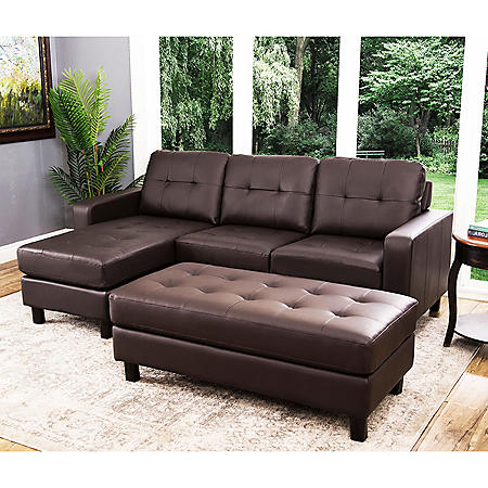 Claire Leather Reversible Sectional and Ottoman (Assorted Colors)
