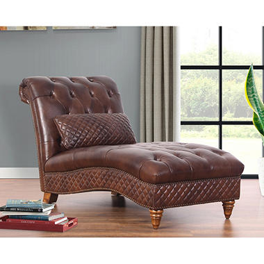 Carmen bonded leather chaise sam 39 s club for Bonded leather chaise