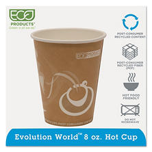 Eco-Products Evolution World 24% PCF Hot Drink Cups, 8oz, Peach -  1000/Carton