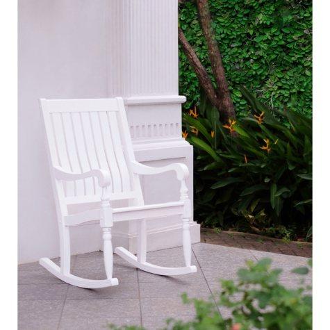 Solid Wood Porch Rocker - White