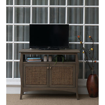 "Yutan 43"" Teak Wood TV Stand Media Console"