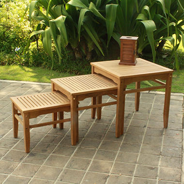Madison Collection 3-Piece Teak Nesting Table Set & Madison Collection 3-Piece Teak Nesting Table Set - Samu0027s Club