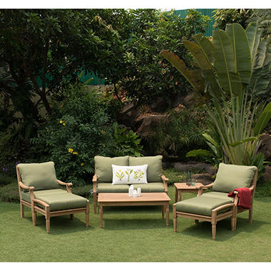 Attractive 7 Piece Deluxe Teak Deep Seating Set
