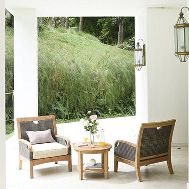 Teak and Wicker 3-Piece Chat Set by Joshua Lane