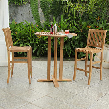 Teak Bar Height 3 Pc Bistro Set Sam S Club