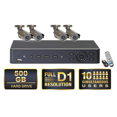 Q-See 4 Channel Surveillance System with 4 Premium CCD Cameras & 500GB Hard Drive with Full D1 Recording