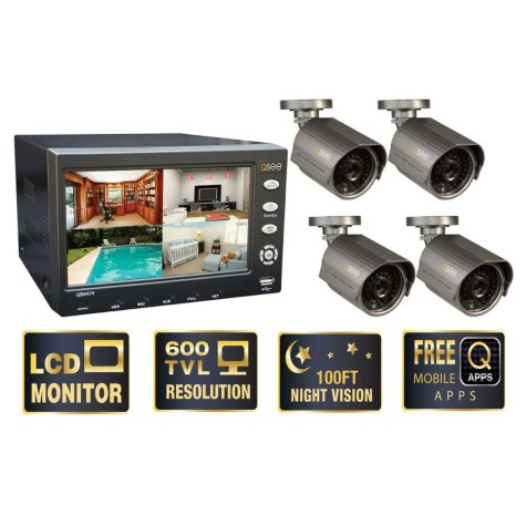 "Q-See 7"" LCD Monitor with Built-in 4 Channel Surveillance DVR with 4 Premium High-Resolution 600TVL Cameras & 500GB HDD"