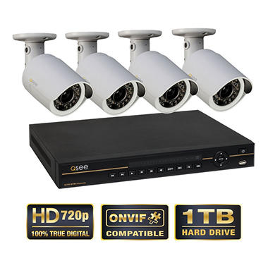 Q-See 8 Channel Security System with 1TB Hard Drive, 4 HD 720p IP Cameras, and 100' Night Vision