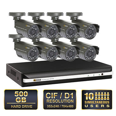 Q-See 8 Channel Security System with 500GB Hard Drive, Remote Monitoring, and 8 400TVL Weatherproof Indoor / Outdoor Cameras