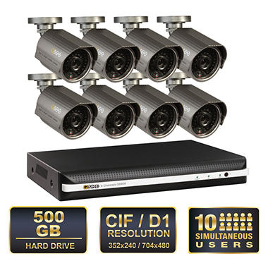 Q-See 8 Channel Surveillance System with 8 Premium High-Resolution 600TVL Cameras & 500GB HDD