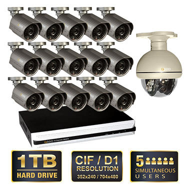 Q-See 16 Channel Security System with 1TB Hard Drive, 15 600TVL Cameras with 100' Night Vision, and 1 Pan/Tilt Camera