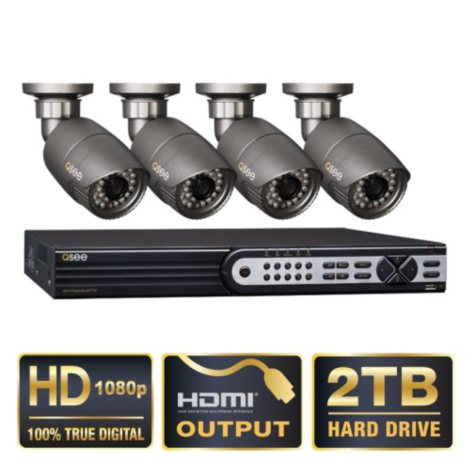 Q-See 4 Channel HD SDI Security System with 2TB Hard Drive, 4 1080p Cameras, and 120' Night Vision