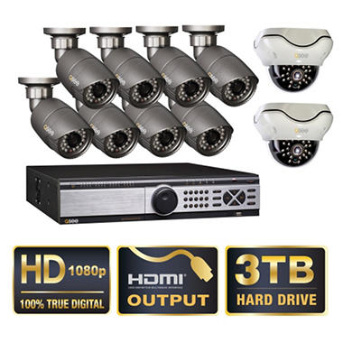 Q-See 16 Channel HD SDI Security System with 3TB Hard Drive, 10 1080p Cameras, and 120' Night Vision