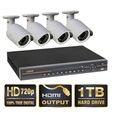 Q-See 8 Channel 720p HD Security System with 1TB Hard Drive, 4 720p Cameras, 100' Night Vision