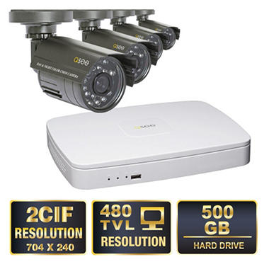 Q-See 4 Channel 2CIF Security System with 500GB Hard Drive, 4 480TVL Cameras, and 50' Night Vision