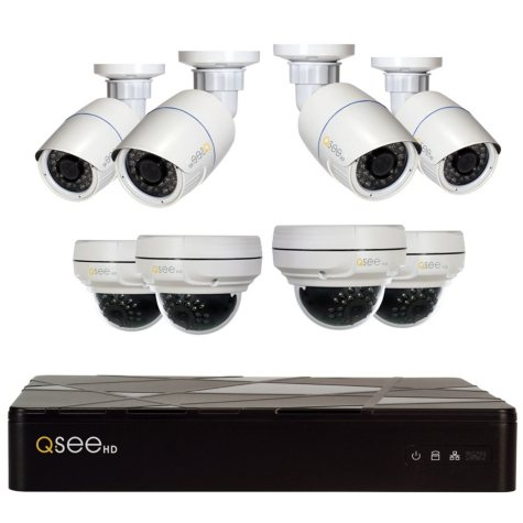 Q-See 8 Channel 4MP IP HD Security System with 2TB HDD, 4 4MP Bullet Cams and 4 4MP Dome Cams, 100' Night Vision