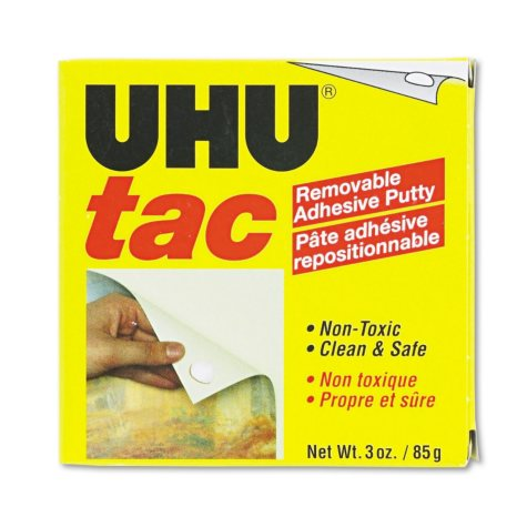 UHU - Tac Adhesive Putty, Removable/Reusable, Nontoxic -  3 oz. Each
