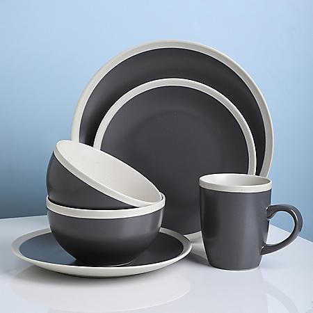 Stone Lain Two-Tone 32-Piece Stoneware Dinnerware Set, Service for 8 (Gray and Cream)