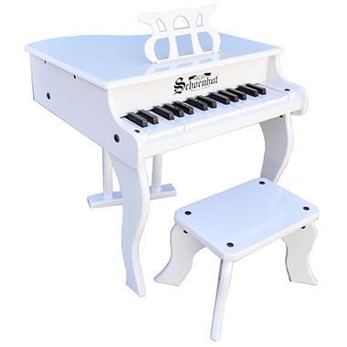 Schoenhut 30 Key Fancy Baby Grand Piano   White