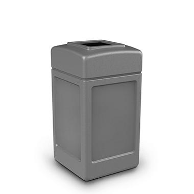 Commercial Zone Square Waste Container, Open Top Lid, Polyethylene, 42-gal, Gray