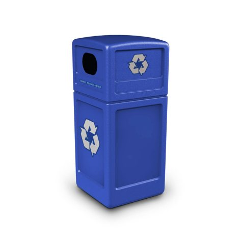 Commercial Zone Recycle Recycling Bin with Dome Lid and Decals., Polyethylene (42gal., Choose Your Color)