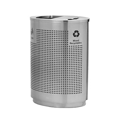 Precision Series SS Grand Recycler, Stainless Steel Trash and Recycling Container with Two Pull-Out Liners (40gal.)