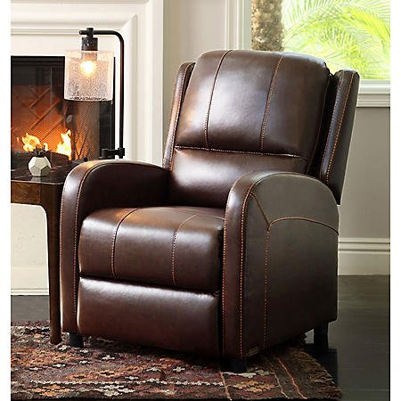 Eugene Pushback Leather Recliner, Brown